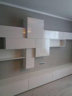 led Living Room Tv Unit Designs, Living Room Wall Units, Living Room Grey, Living Room Decor, Tv Cabinet Design, Tv Wall Design, Tv Furniture, Lounge Furniture, Living Tv