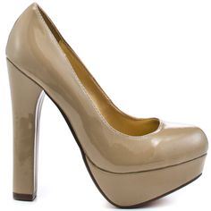 You'll be love struck when you set eyes on these fab pumps from Luichiny.  Love Struck has a shiny nude patent upper with a chunky 1 inch platform that is perfected by a 5 inch thick heel.