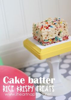 These cake batter rice krispy treats are seriously THE best!!  #food #dessert