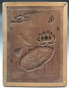 JAPANESE ANTIQUE KASHIGATA Lotus Flower Leaf Cloud Hand Carved Wooden Cake Mold