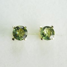 Natural Olive green Moldavite stud earrings 9ct 375 by EVGAD