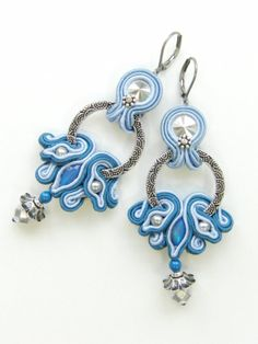 Soutache earrings  Ocean Waves by Violetbijoux on Etsy, $67.00
