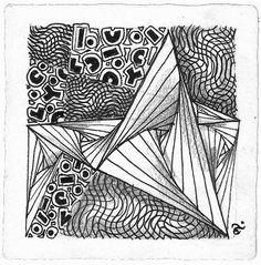 Tangles used: Vermal, Paradox, Scena.  Zentangle drawn by Aimée P. Fusaro, CZT / inkerbelle.com