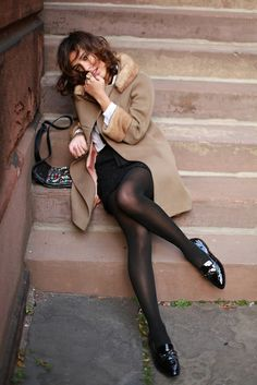 "the–one: "" the-streetstyle: "" { Grand Marnier } Holiday "" christina caradona "" — Style Simple, Style Me, Looks Street Style, Camel Coat, In Pantyhose, Nylons, Dress Me Up, Just In Case, Dress To Impress"
