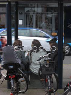 Three girls at a bus shelter, Copenhagen