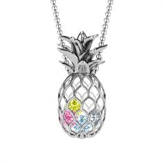 Diamond Solitaire Necklace with Bezel Set ct. Natural Diamond / Rose Gold / floating diamond necklace / Girlfriend Gift Necklace A single brilliant round cut diamond different choices of diamond size) hangs on a bail at the center of a thin 1 Pineapple Jewelry, Pineapple Necklace, Gold Pineapple, Silver Charms, Sterling Silver Necklaces, Silver Earrings, Silver Ring, Silver Bracelets, Earrings Uk