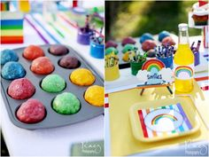 Playdough that looks like cupcakes for kids to play with during the party - could wrap them up cute as a favor.