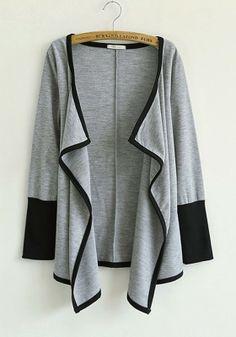 Grey Patchwork Asymmetric Long Sleeve Cotton Blend Outerwears