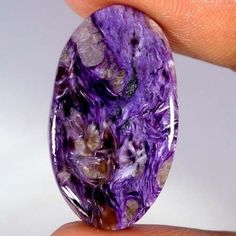 Russian Natural Purple Charoite Oval Cabochon AAA Gemstone Fine Quality 15.60Cts #Qualitygems2014