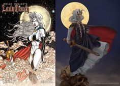 "Lady Death (Chaos Comics) redesign by Heather Hudson ""Medieval Sweden is a cold place to wear a latex bikini."""