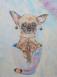 Original Oil Painting Little coquette Dwarf Terrier by FrozenLife