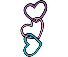 Heart Tattoo Design Idea 3 hearts for the boys different color