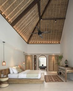 Bali Bedroom, Interior Architecture, Interior Design, Natural Interior, Roof Structure, Luxurious Bedrooms, Luxury Villa, Room Decor, House Design