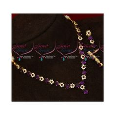 Diamond Necklace Set, Gold Plated Necklace, Diamond Jewelry, Gold Necklace, American Diamond Jewellery, Copper And Brass, Simple Designs, Chain, Purple