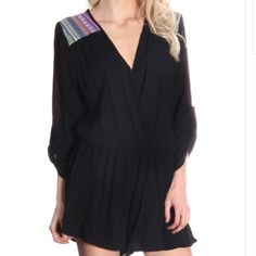 Black tribal patch romper Black romper with colorful details. Elastic waist. Not see through, bottom part is lined. 100% rayon Pants Jumpsuits & Rompers