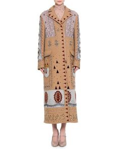 W0DQM Valentino Embellished Long Wool Coat, Multi