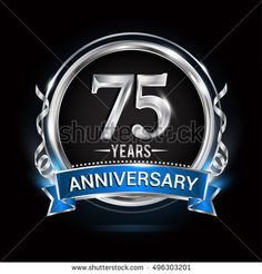 Logo celebrating 75 years anniversary with silver ring and blue ribbon.