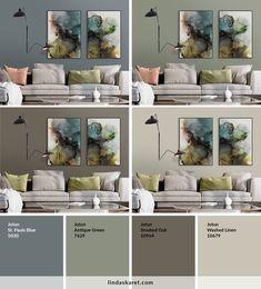 Populære malingsfarger fra Jotun Lady som passer til bildene Living Room Green, Bedroom Green, Living Room Colors, Living Room Paint, Bedroom Colors, Home And Living, Wall Paint Colors, Paint Colors For Home, House Colors