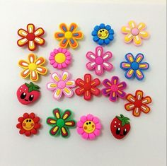 5db55abc81b57 Colorful Flowers PVC Bracelets Charm Decoration for  Croc Jibbitz Gifts  10pcs