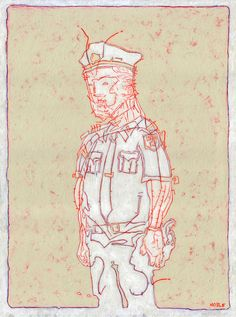 """Saatchi Online Artist: Alex Noble; Acrylic, Painting """"Policeman in White"""""""