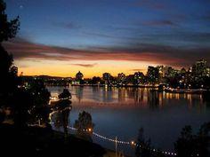 Lake Merritt at night Oakland CA