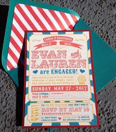 Engagement Party Invitations - Circus Theme. $3.00, via Etsy.