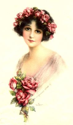 Vintage illustration of a dark-haired young lady with a bouquet of pink Roses and a wreath of them on her head.