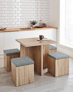 Space-Saver Hideaway Dining Set Table Chairs Kitchen Furniture Modern Home Room Dining Table Chairs, Kitchen Chairs, Dining Set, Kitchen Furniture, Modern Furniture, Space Saver Dining Table, Round Dining, Diy Furniture, Kitchen Table Makeover