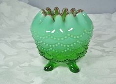 EAPG Jefferson Glass Footed Rose Bowl Green Opalescent Beaded Drape Pattern
