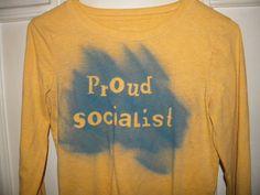Proud Socialist Long Sleeve T Shirt Small Mustard by KillWalmart, $15.00