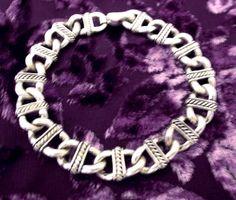 Vintage Chunky Silver Chain-Mail Link Bracelet, Amulet, Celtic, Tribal, Fashionable, Fantasy, Medieval, Fairytalex