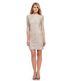390dd3a4e41 Calvin Klein Sequined Lace Sheath Dress Champagne Lace Dresses