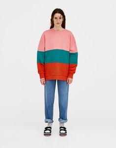 Colour block sweatshirt - Sweatshirts & Hoodies - Clothing - Woman - PULL&BEAR Romania