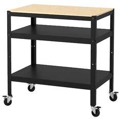BROR Tarjoiluvaunu, musta, mäntyvaneri, 85x55 cm - IKEA