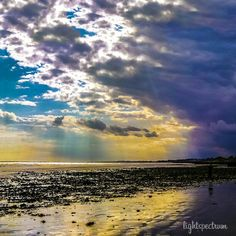 A photograph I took of the #clouds at the #beach. The #sunlight has made some #beautiful #colours in this scene