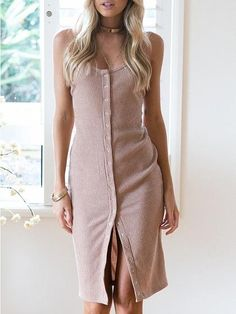 Nude Rib Spaghetti Strap Button Front Bodycon Dress