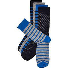 Navy striped socks pack $24.00