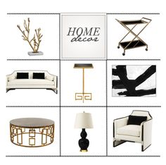 """Black, White & Gold"" by kathykuohome ❤ liked on Polyvore featuring interior, interiors, interior design, home, home decor, interior decorating, LexMod, Dagmar, homedecor and livingroomdecor"