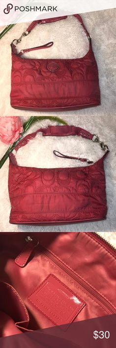 Coach fabric bag Coach pink fabric bag. Used, show some signs of use. Measuring 15inches long, 5inches wide and 9inches high not including the strap. Coach Bags Shoulder Bags