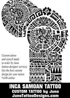 inca samoan non aztec polynesian tattoo by juno tattoo designs Aztec Tribal Tattoos, Aztec Tattoo Designs, Polynesian Tattoo Designs, Geometric Tattoos, Tattoo Inca, Samoan Tattoo, Thai Tattoo, Taino Tattoos, Marquesan Tattoos