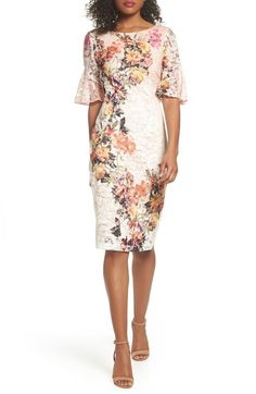 5659b764117 Gabby Skye Print Lace Sheath Dress