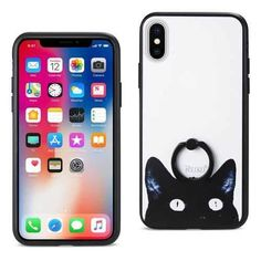 REIKO IPHONE X CAT DESIGN CASE WITH ROTATING RING STAND HOLDER