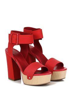 VIC MATIE - Sandalo alto - Donna - Sandalo alto in pelle e pelle stampata effetto gommato con cinturino alla caviglia e suola in gomma. Tacco 120, platform 40 con battuta 80. - RED - € 249.00
