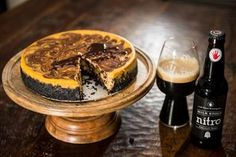 Pumpkin Chocolate Cheesecake with Left Hand Milk Stout Nitro Fudge Sauce - By Left Hand Brewing Co.