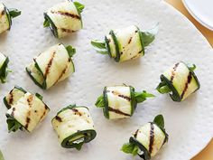 Grilled Zucchini Rolls with Herbs and Cheese recipe from Ellie Krieger via Food Network