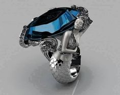 Sapphire, diamond mermaid ring