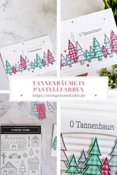Tannenbäume in Pastellfarben | Stampinup, Coming Home, Bullet Journal, Cards, Pastel Colors, Stamping, Xmas Cards, Christmas Time, Love