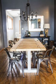 Turn an old door into your new dining room table!