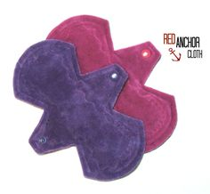 "8"" Cloth Menstrual Pads - Set of 2 Moderate - OBV - Mama Cloth - Organic Bamboo Velour - by RedAnchorCloth on Etsy"