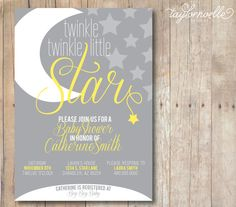 Twinkle Twinkle Little Star Grey and Yellow Baby Shower  Invitation by TaylorNoelleDesigns, $15.00